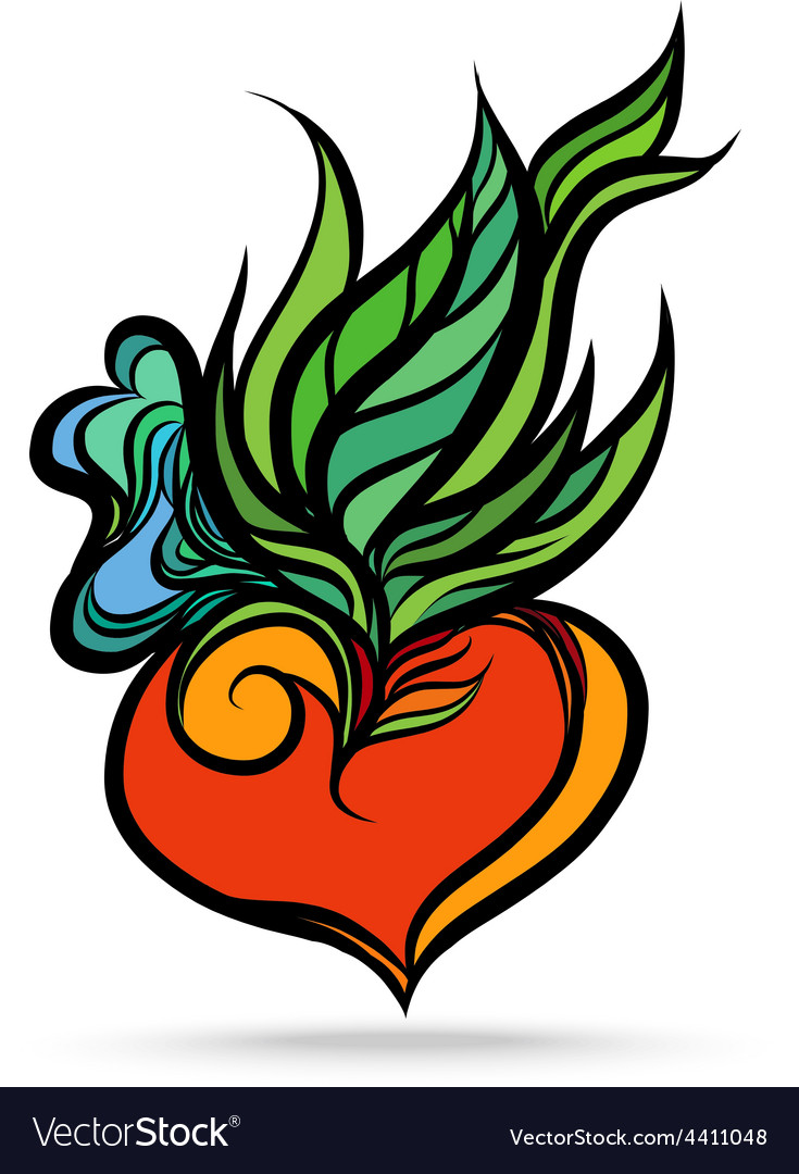 Heart leaf hand drawing color vector   Price: 1 Credit (USD $1)