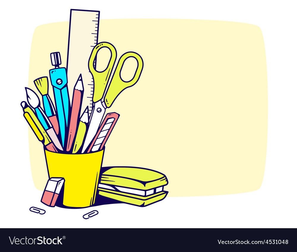 Holder with stationery set in frame vector | Price: 1 Credit (USD $1)