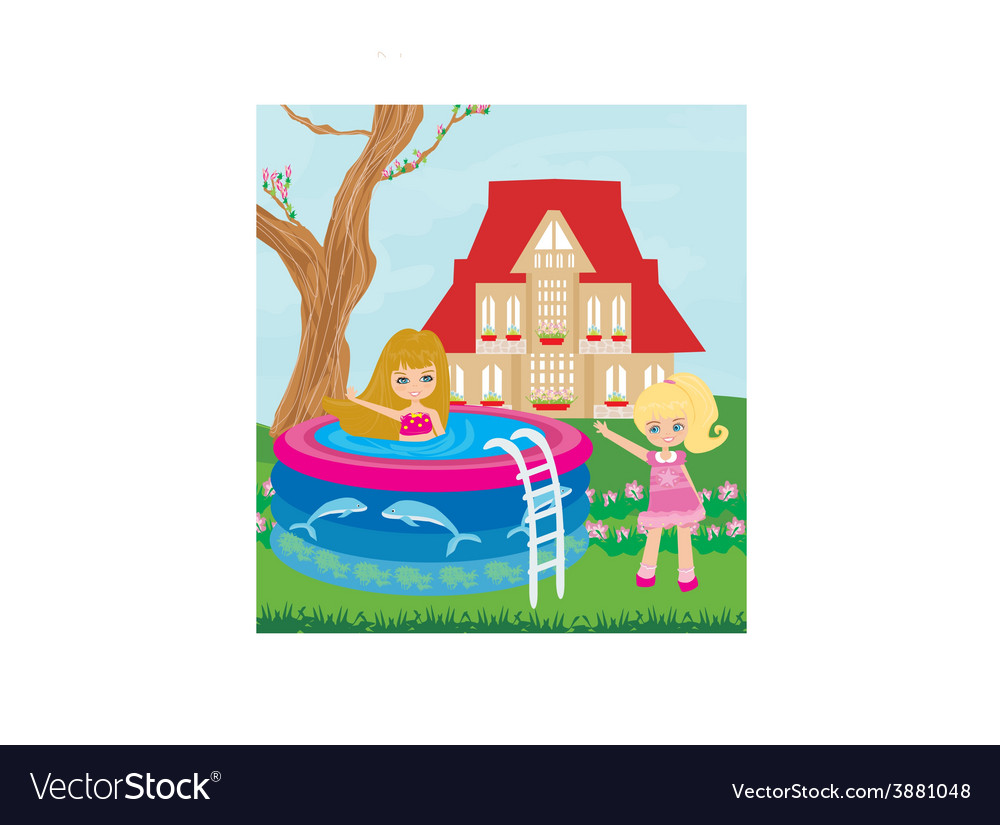 Little girl in outdoor pool vector | Price: 1 Credit (USD $1)