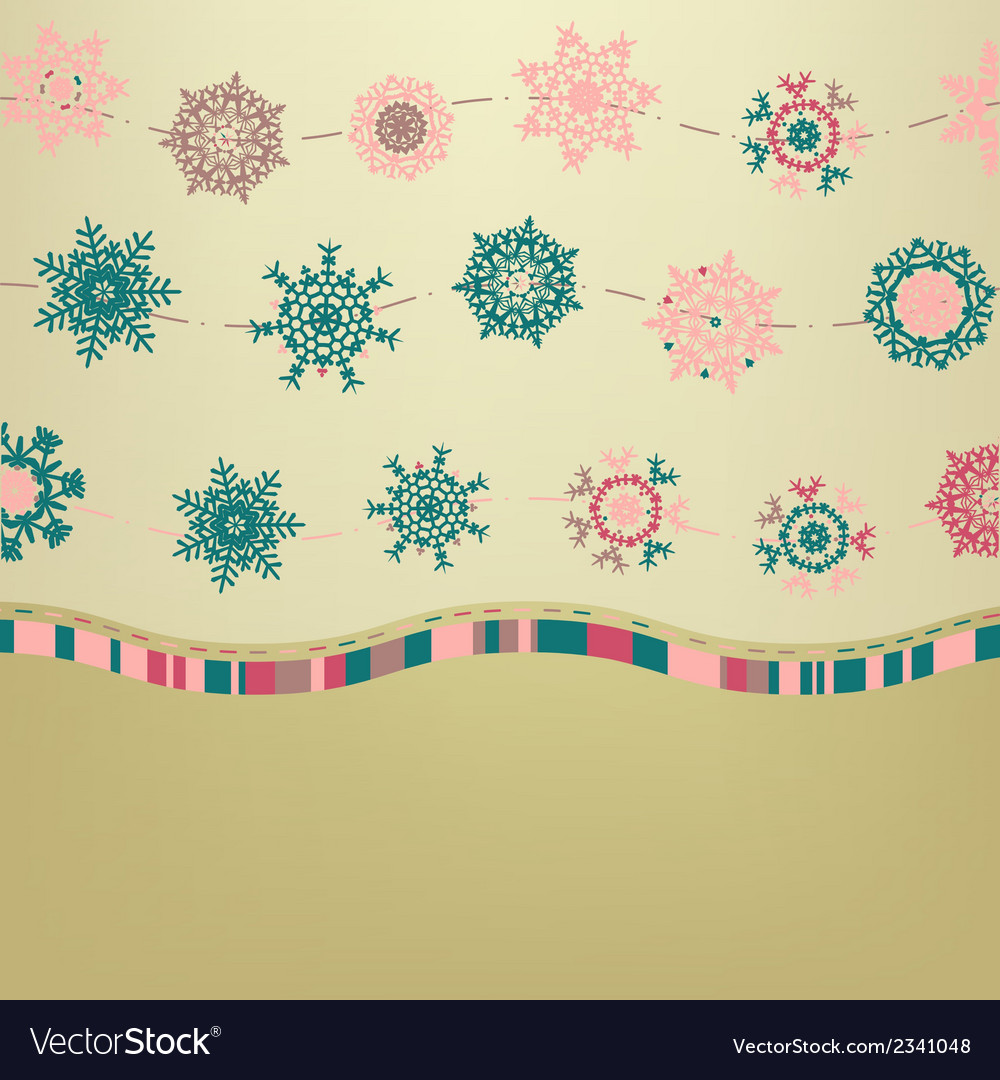 Retro card template with snowflakes eps 8 vector | Price: 1 Credit (USD $1)