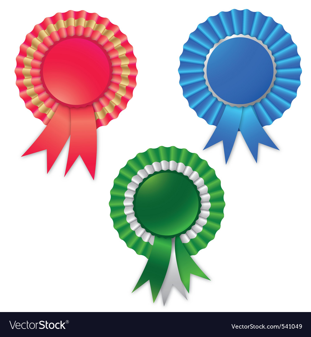Blank award ribbon rosette for winner isolated on vector | Price: 1 Credit (USD $1)