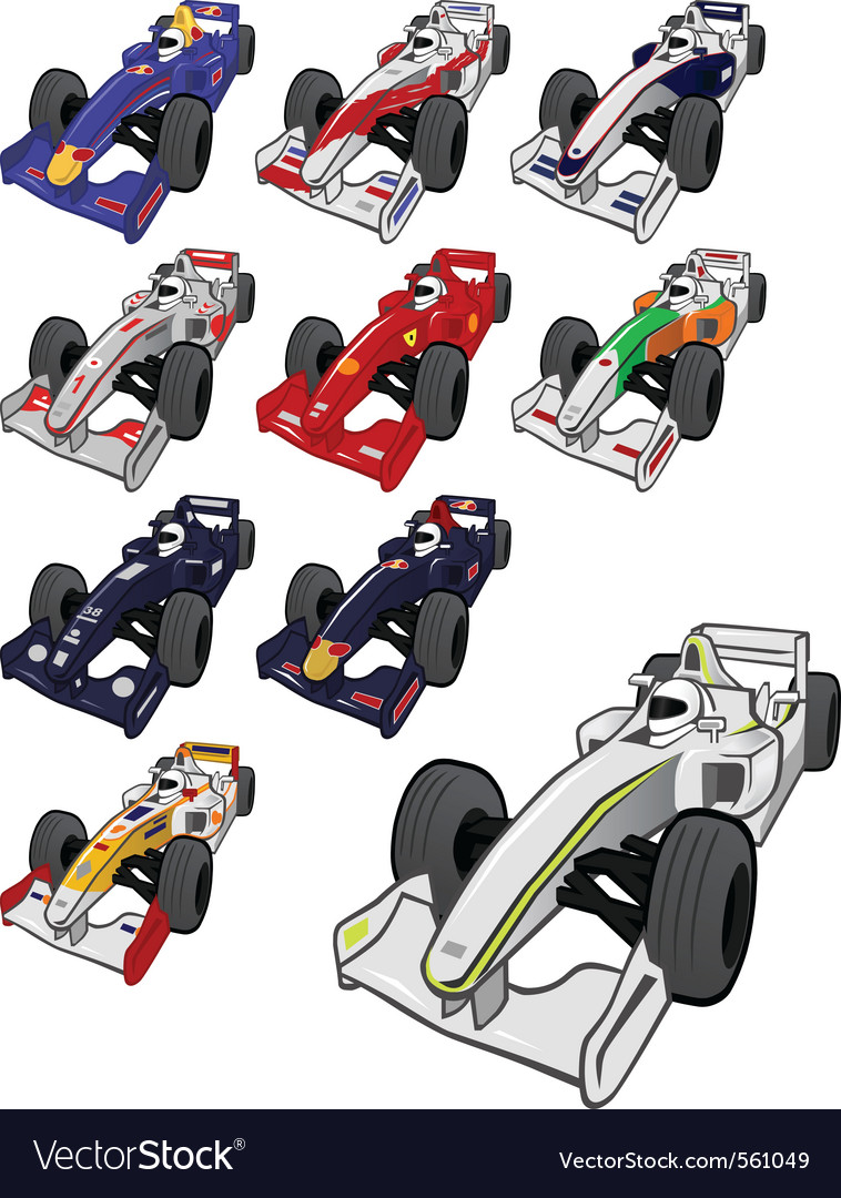 Cartoon formula one vector | Price: 1 Credit (USD $1)