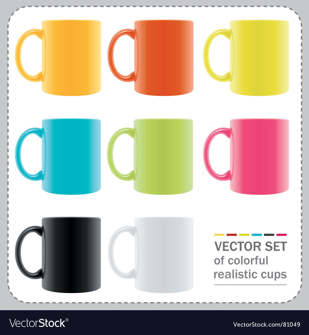 Colorful mugs vector | Price: 1 Credit (USD $1)