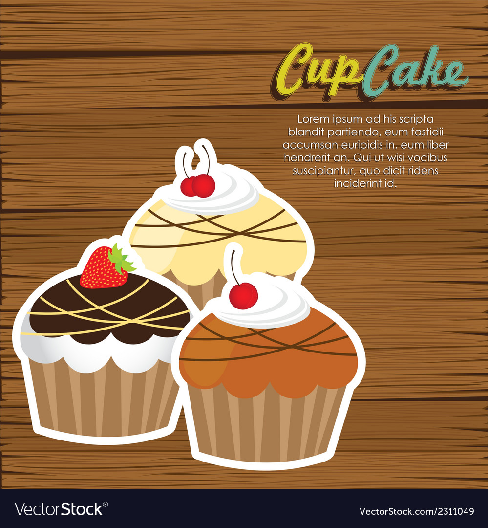 Cupcakes on wooden background vector | Price: 1 Credit (USD $1)