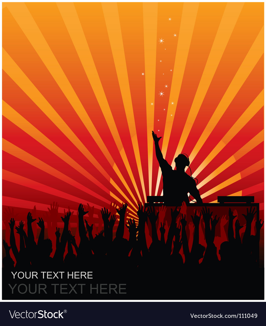 Dj cheering audience vector | Price: 1 Credit (USD $1)