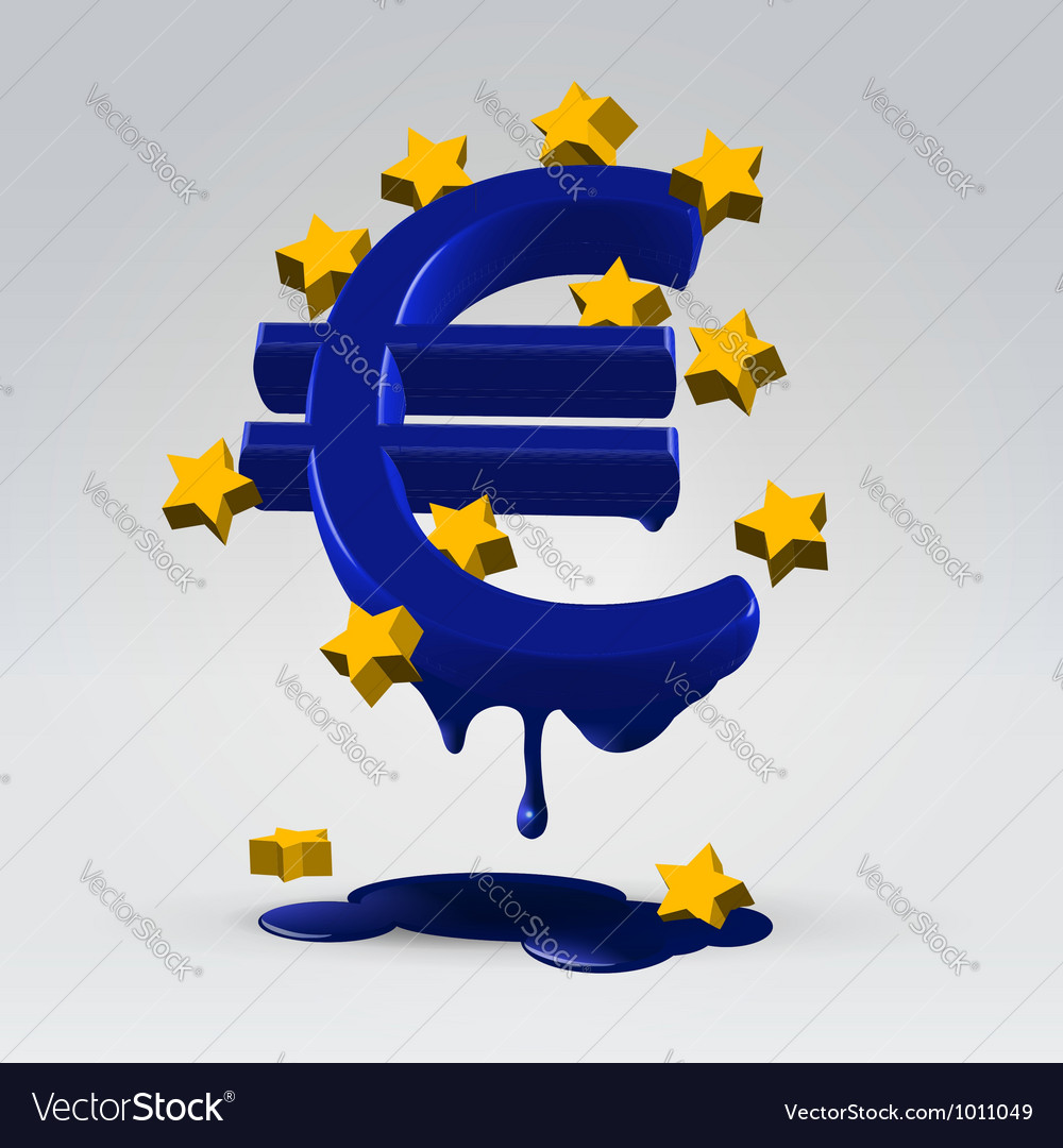 Euro melting dripping vector | Price: 3 Credit (USD $3)