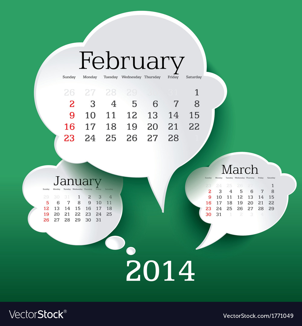 February 2014 bubble speech calendar vector | Price: 1 Credit (USD $1)
