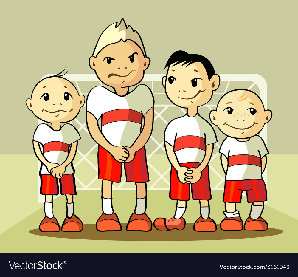 Four soccer player vector | Price: 1 Credit (USD $1)