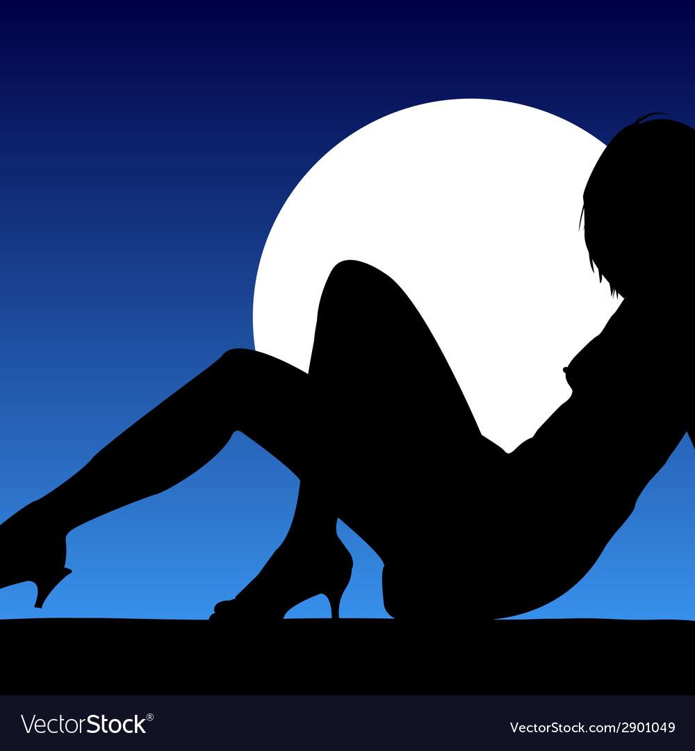 Girl black silhouette posing vector   Price: 1 Credit (USD $1)