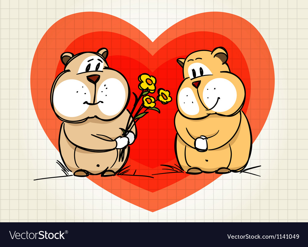 Hamster greets his girlfriend vector | Price: 1 Credit (USD $1)