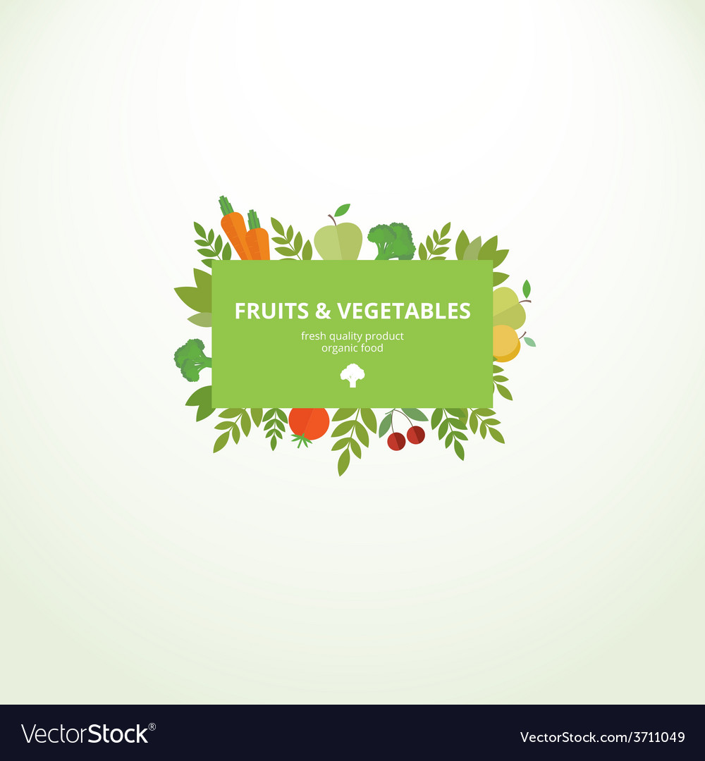 Label with fresh fruits and vegetables vector | Price: 1 Credit (USD $1)