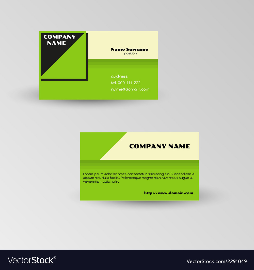 Modern green business card template vector | Price: 1 Credit (USD $1)