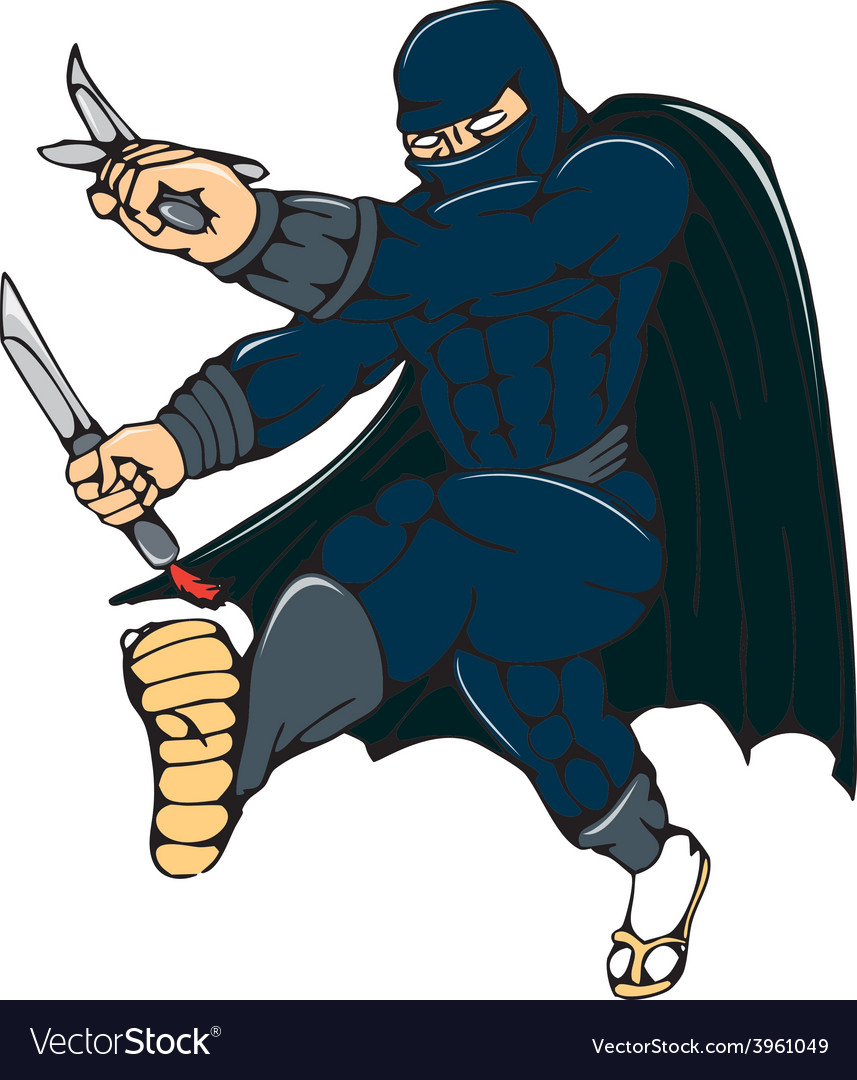 Ninja masked warrior kicking cartoon vector | Price: 1 Credit (USD $1)