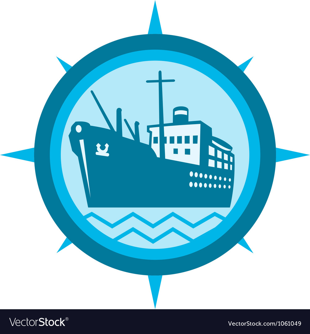 Passenger ship cargo boat retro vector | Price: 1 Credit (USD $1)