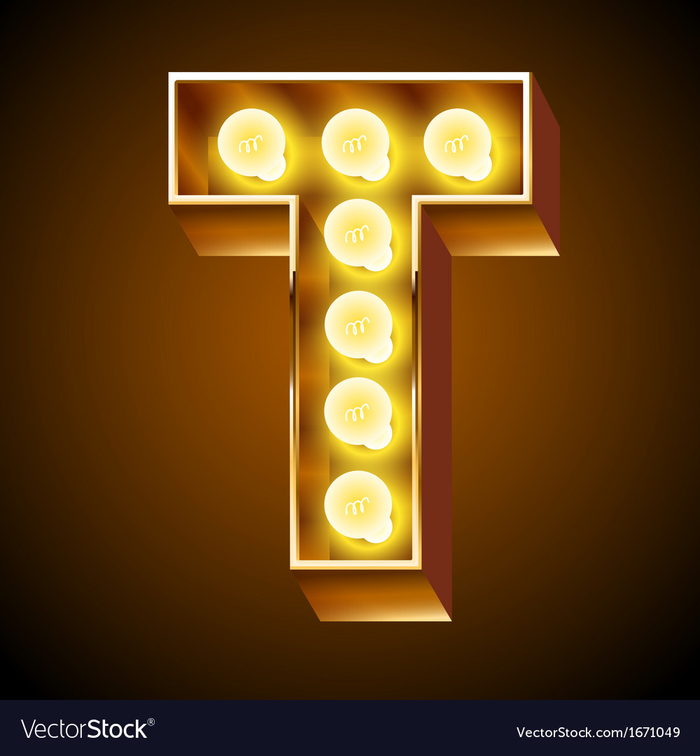Realistic old lamp alphabet for light board vector | Price: 1 Credit (USD $1)