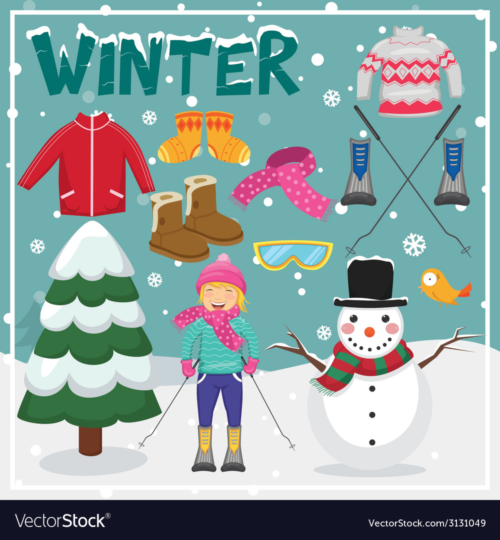 Set of winter elements and vector | Price: 1 Credit (USD $1)