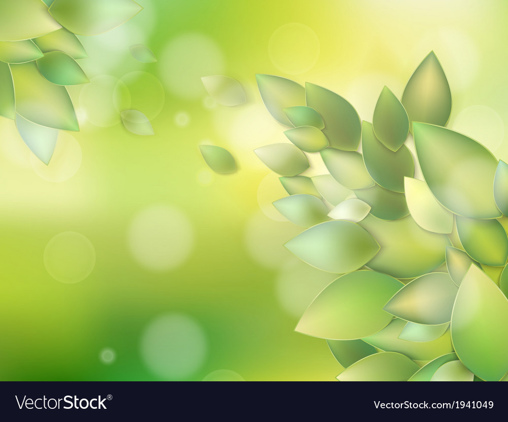 Summer branch with fresh green leaves eps 10 vector | Price: 1 Credit (USD $1)
