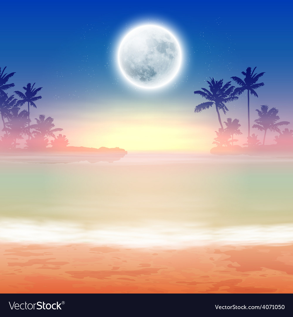 Beach with palm trees and full moon at night vector | Price: 1 Credit (USD $1)