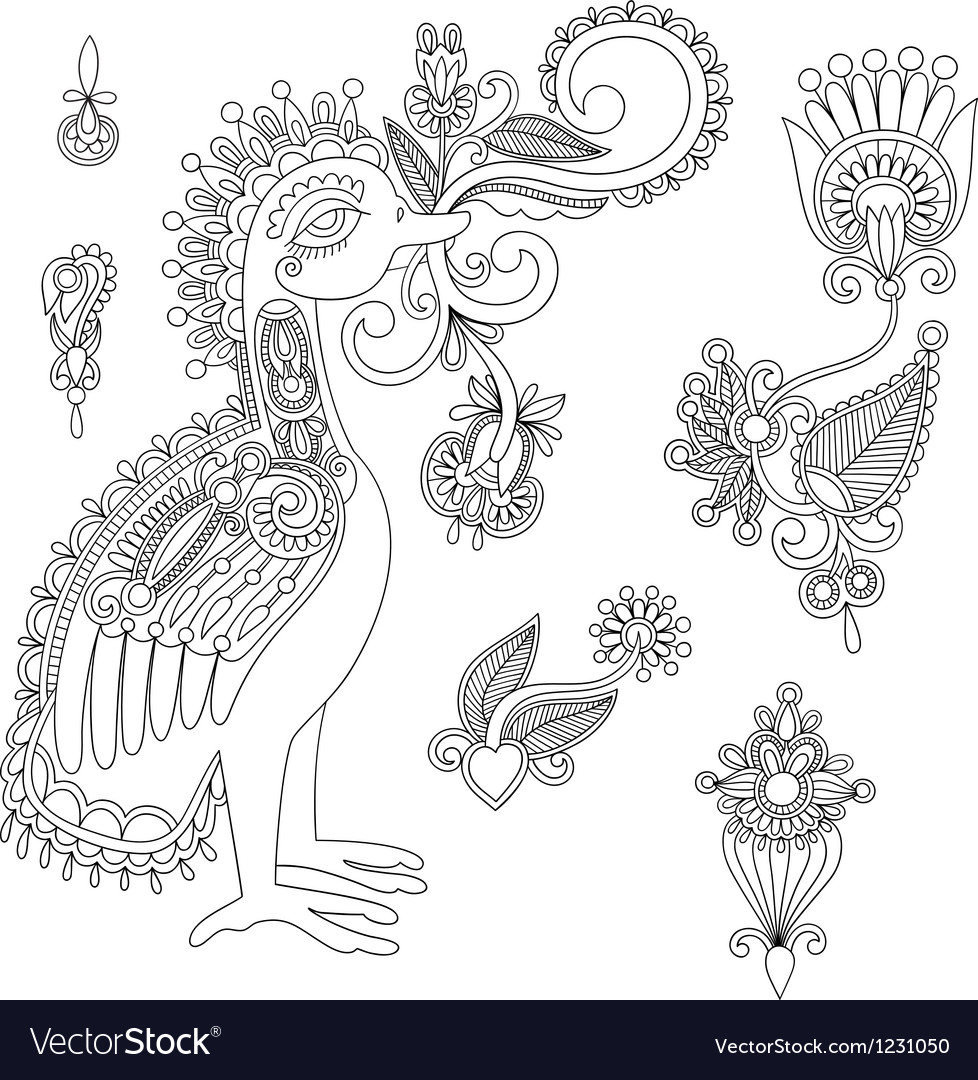 Black flowers and bird design element vector | Price: 1 Credit (USD $1)