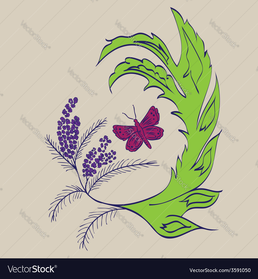 Butterfly with floral3 vector | Price: 1 Credit (USD $1)