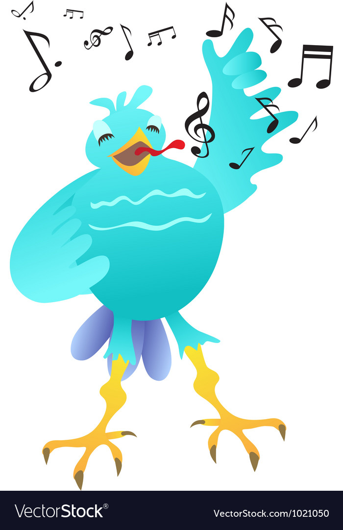 Cartoon happy singing bird vector | Price: 1 Credit (USD $1)