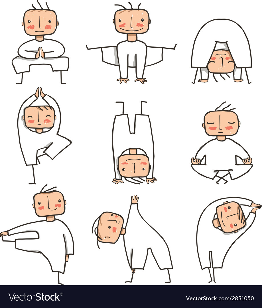 Comic yoga man collection vector   Price: 1 Credit (USD $1)