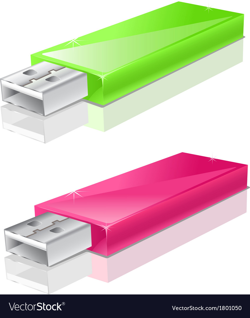 Green and pink usb flash drive vector | Price: 1 Credit (USD $1)