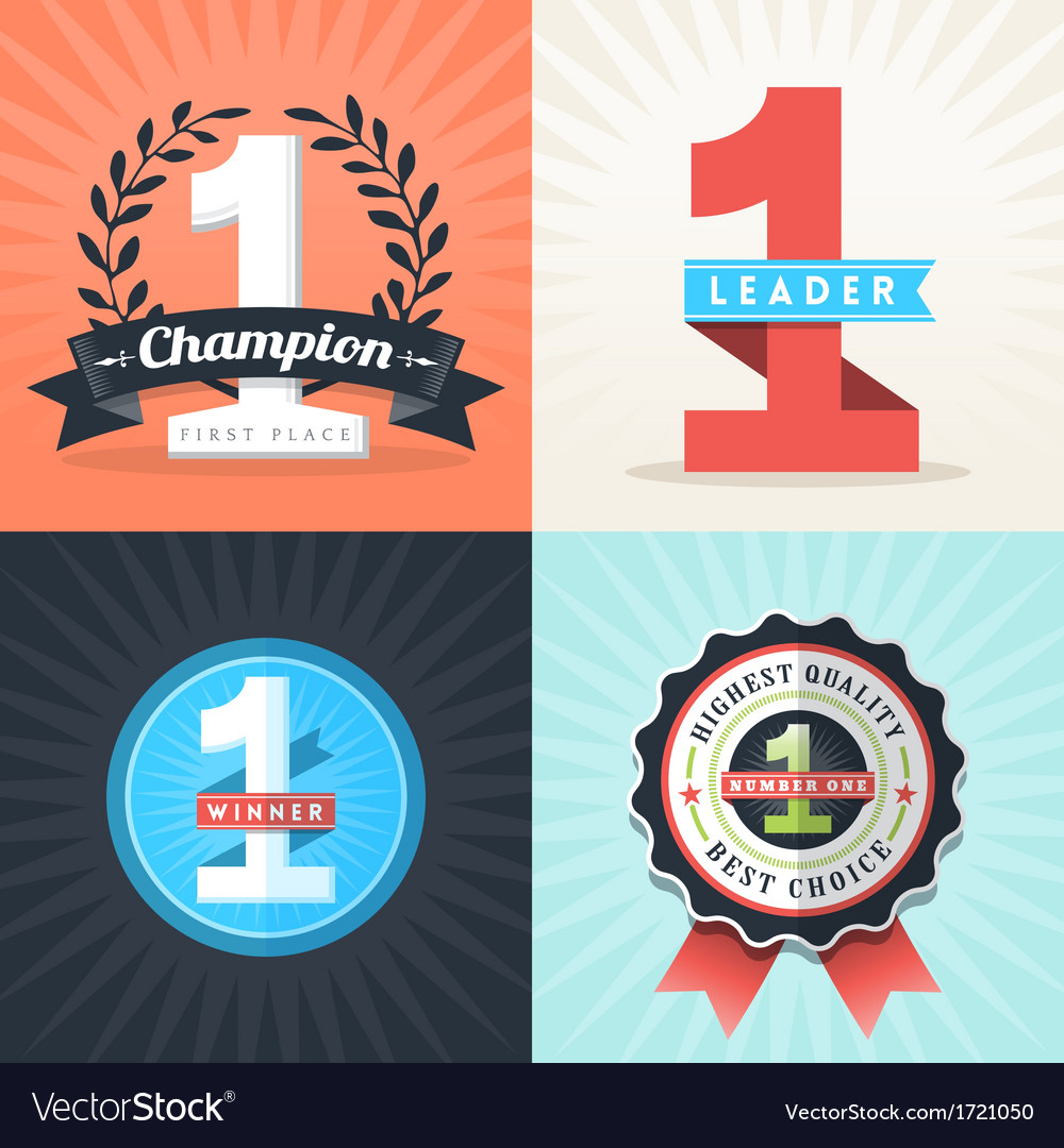 Number one first place winner ribbons and badges vector | Price: 1 Credit (USD $1)