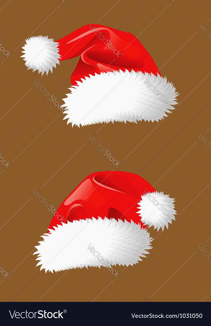 Red christmas hats of santa claus vector | Price: 1 Credit (USD $1)