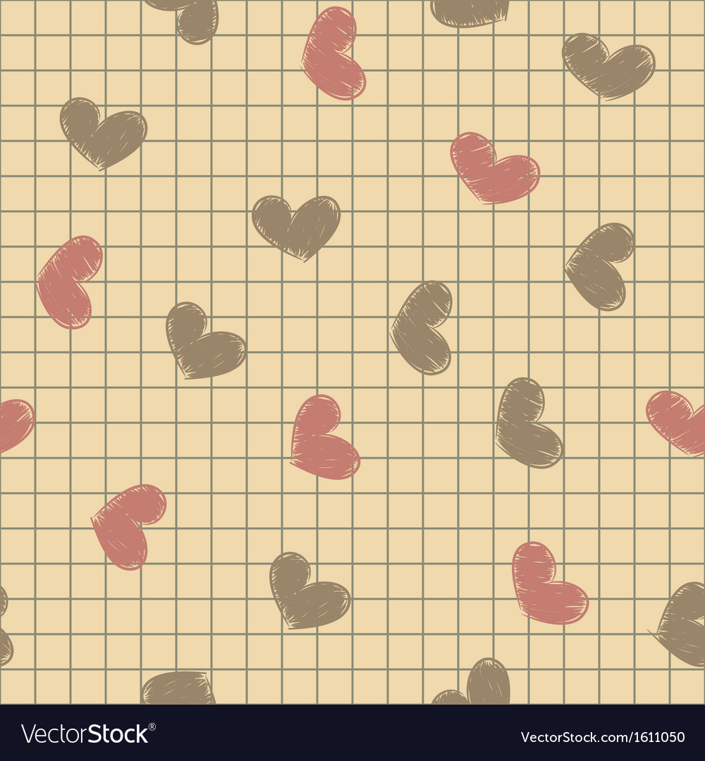Seamless with ink painted hearts on a sheet of vector   Price: 1 Credit (USD $1)