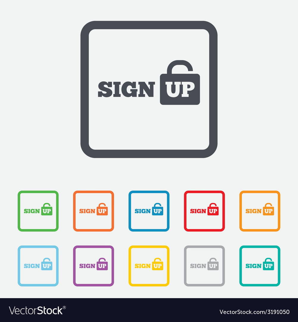 Sign up sign icon registration symbol vector | Price: 1 Credit (USD $1)