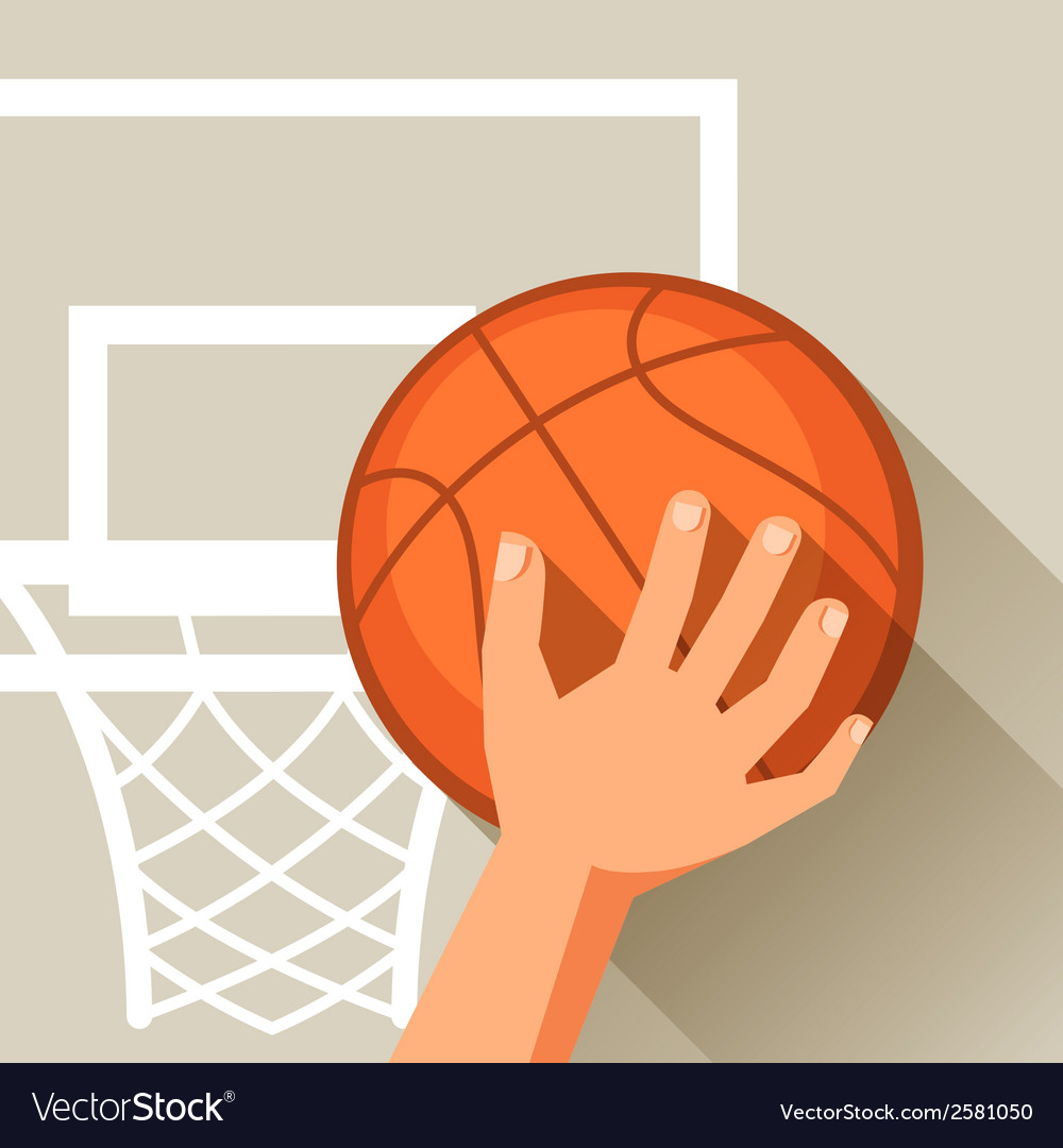 Sports hand shot basketball ball through hoop vector | Price: 1 Credit (USD $1)