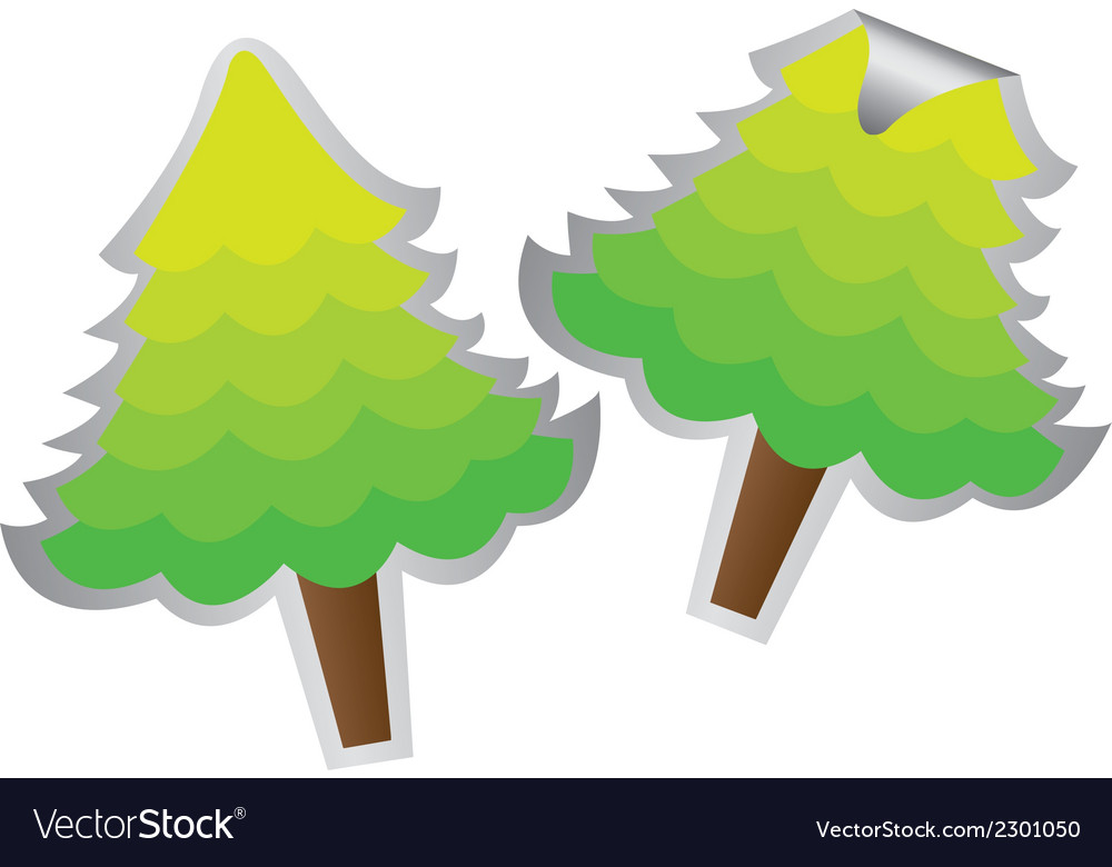 Two trees stickers isolated over white background vector | Price: 1 Credit (USD $1)