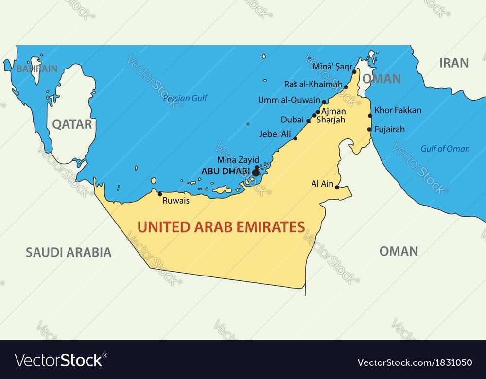 United arab emirates - map vector | Price: 1 Credit (USD $1)