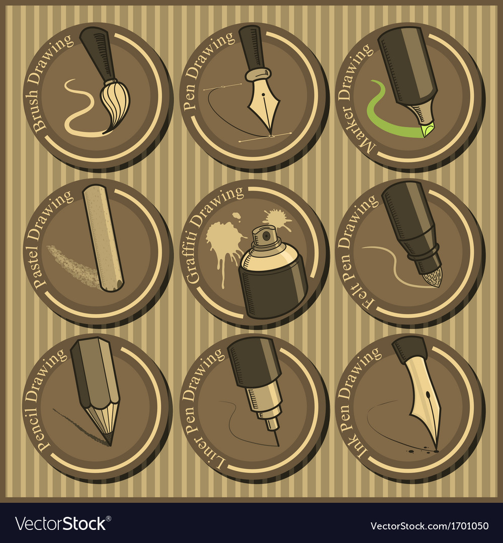 Vintage icon set of different drawing tools vector | Price: 1 Credit (USD $1)