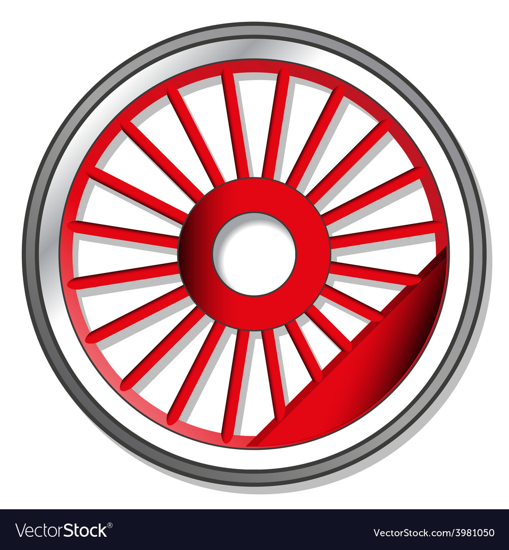 Wheel of steam locomotive vector