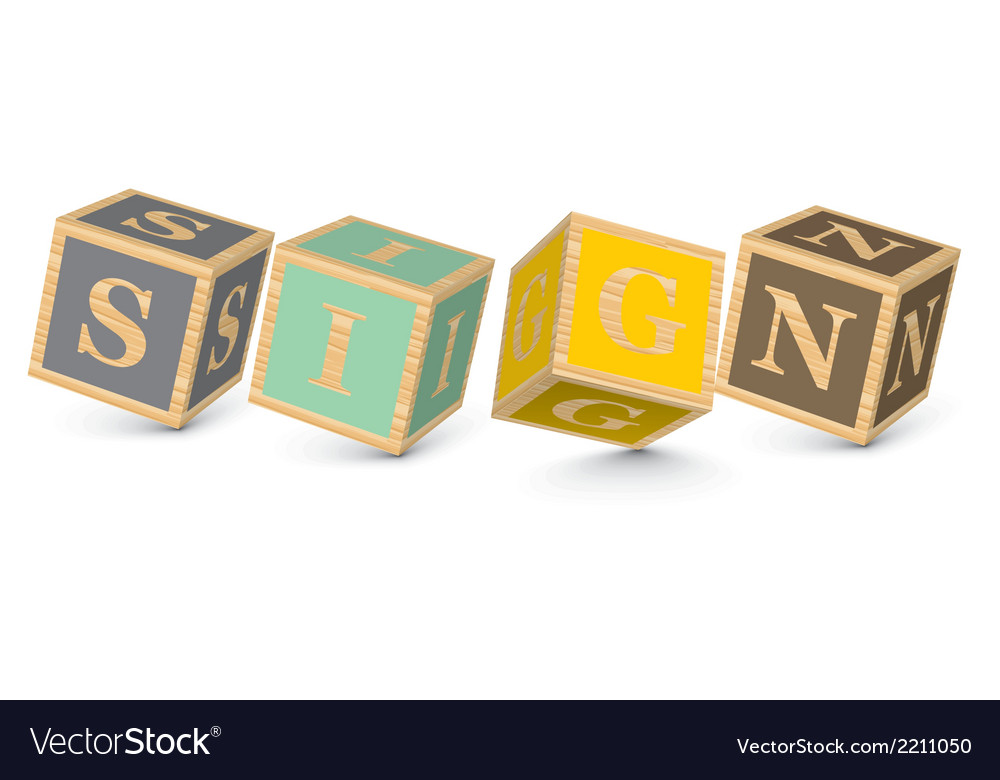 Word sign written with alphabet blocks vector | Price: 1 Credit (USD $1)