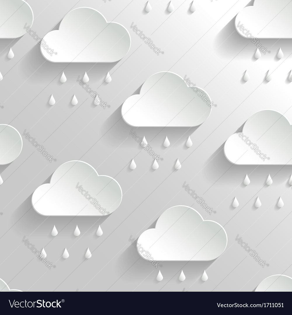 Abstract background with paper rainy clouds vector | Price: 1 Credit (USD $1)