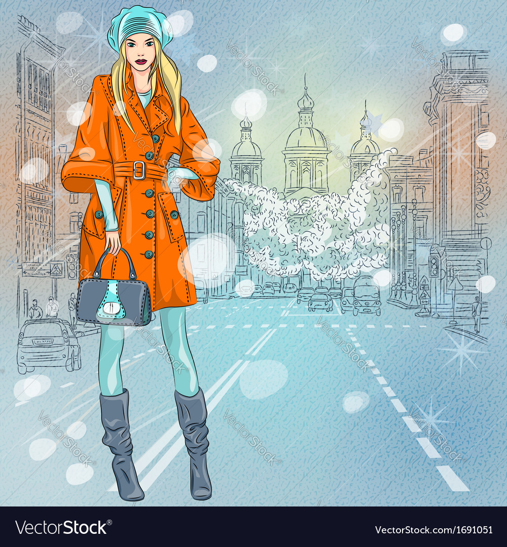 Beautiful fashionable girl on the wide avenue vector | Price: 1 Credit (USD $1)