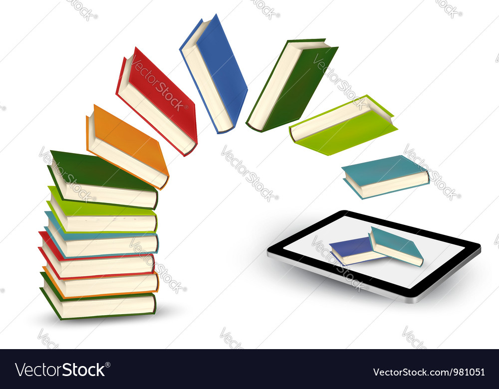 Books flying in a tablet vector | Price: 1 Credit (USD $1)