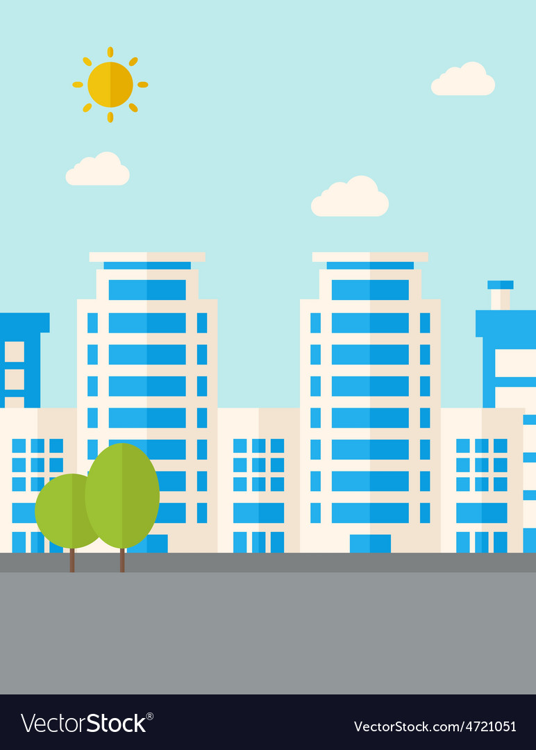 Buildings with trees vector | Price: 1 Credit (USD $1)