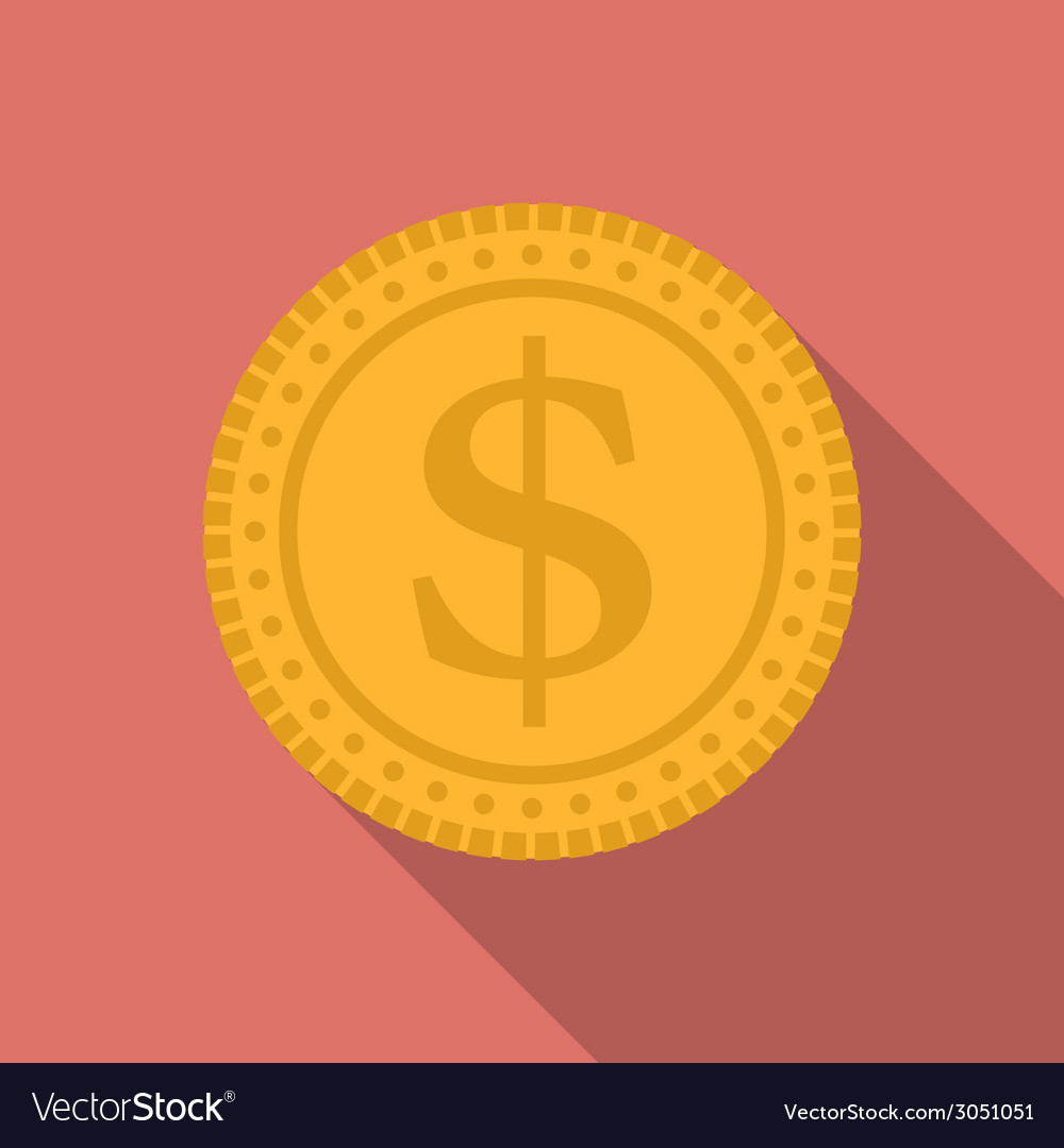 Dollar coin icon modern flat style with a long vector | Price: 1 Credit (USD $1)