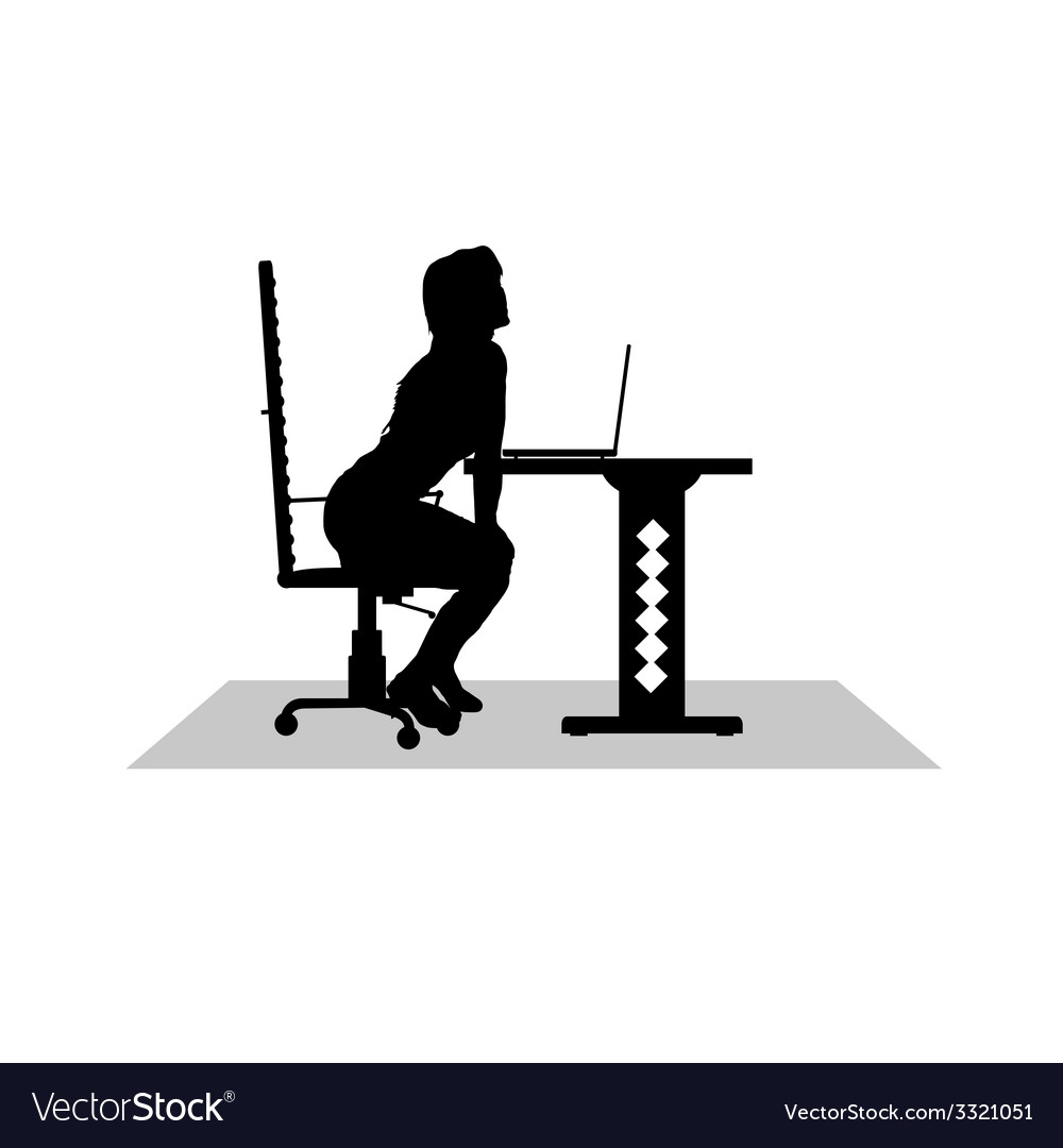 Girl sitting at the computer vector | Price: 1 Credit (USD $1)