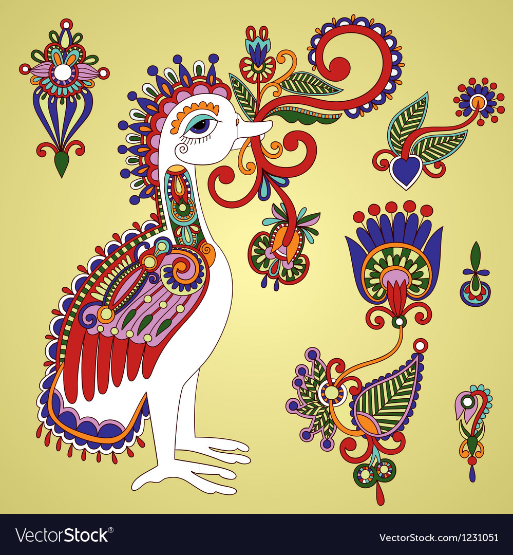 Hand draw ornate bird and flower design element vector | Price: 1 Credit (USD $1)