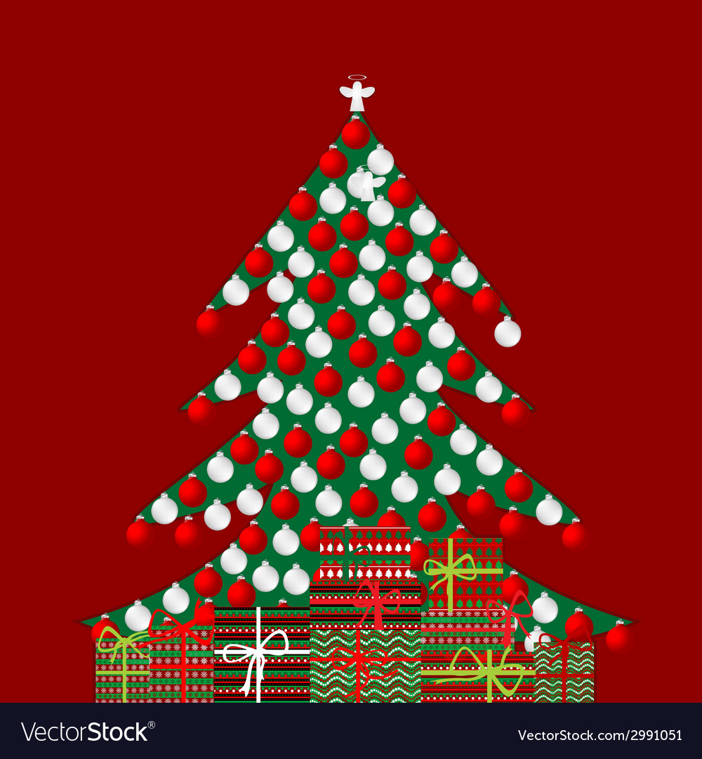 Holiday background with christmas tree and gift vector | Price: 1 Credit (USD $1)