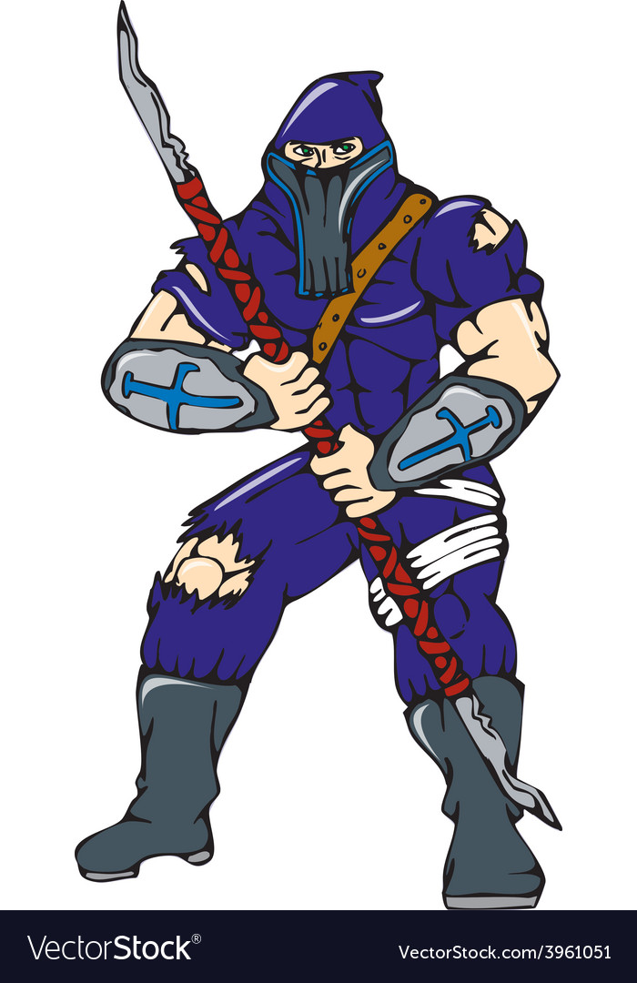 Ninja masked warrior spear cartoon vector | Price: 1 Credit (USD $1)