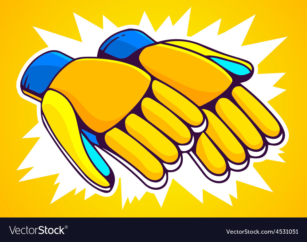 Orange and blue gloves on yellow backgrou vector | Price: 1 Credit (USD $1)