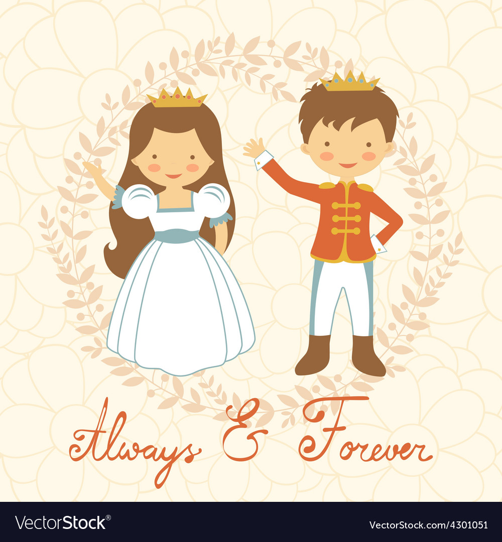 Prince and princess holding hands vector | Price: 1 Credit (USD $1)