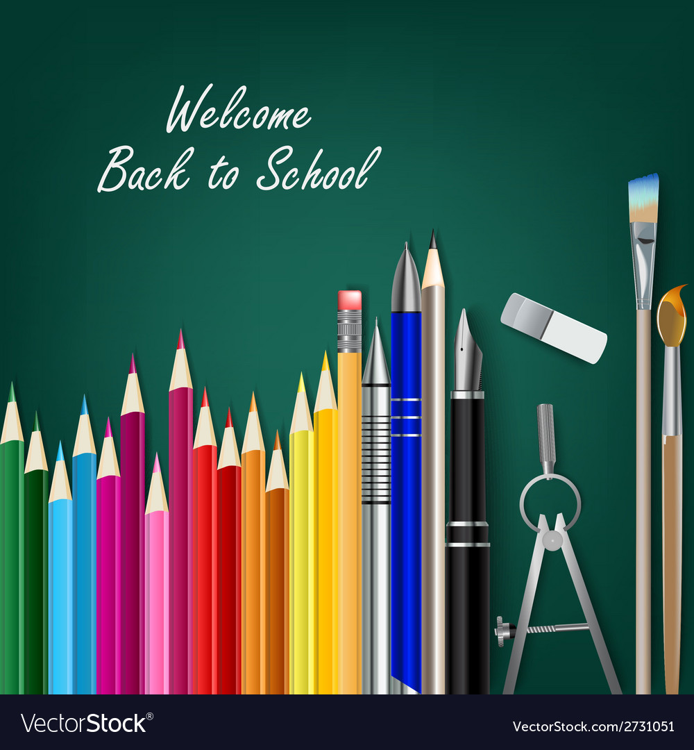 Welcome back to school with teaching aids vector | Price: 1 Credit (USD $1)