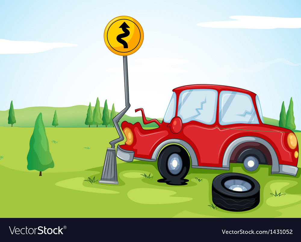 A car bumping the road sign vector | Price: 1 Credit (USD $1)
